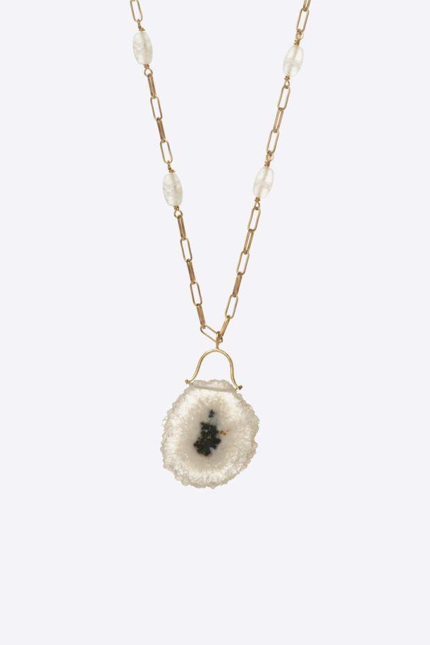 5 Octobre Collier MIA - Argent doré Or fin, Solar Quartz & Rock Crystal