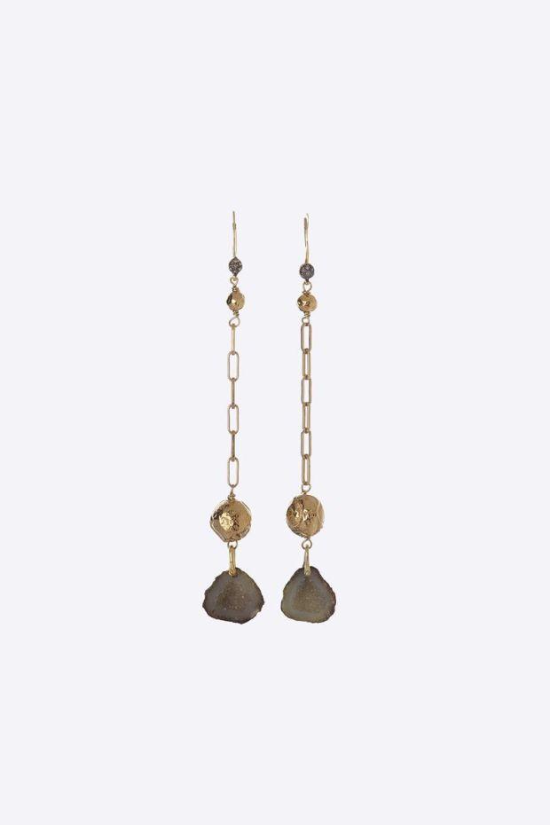 5 Octobre Boucles d'Oreilles JESSE - Argent doré Or fin, Géode & Diamants