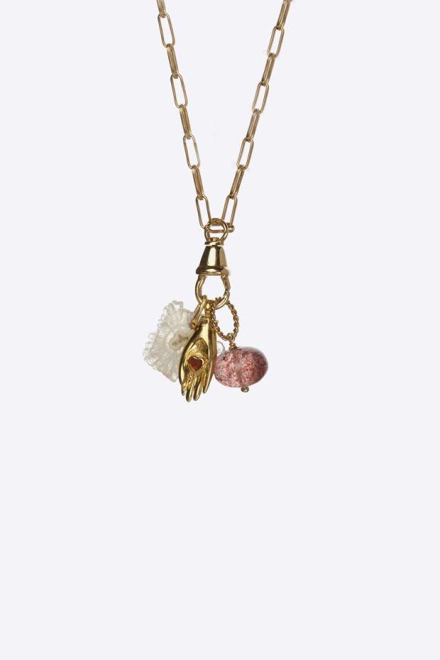 5 Octobre Collier JUDIE - Argent doré Or fin, Diamant, Strawberry Quartz & Solar Quartz