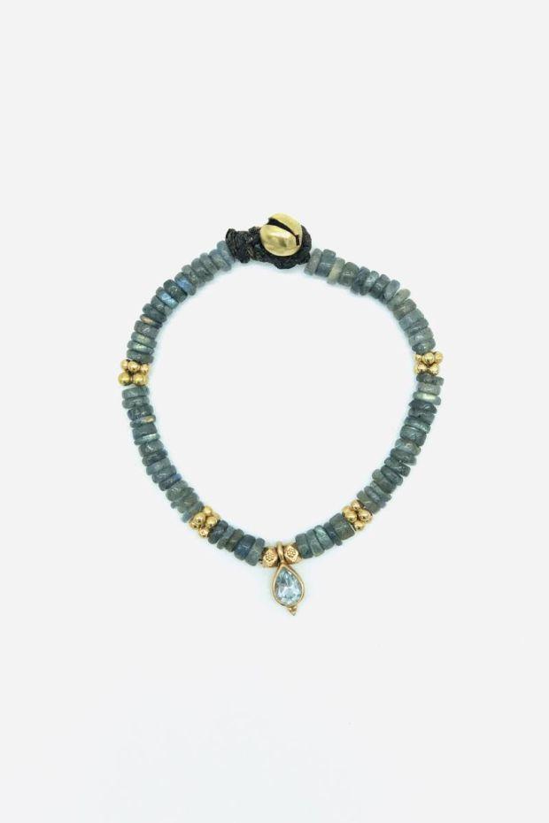 Bohemian Rhapsodie Bracelet GREY - Labradorite & Bindi Topaze