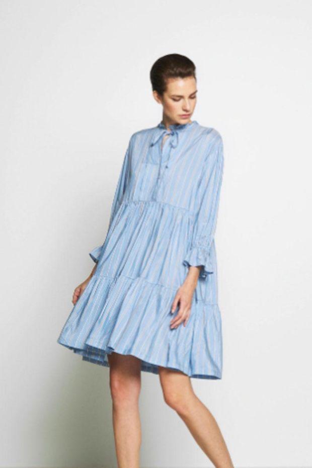 Designers Remix Mela Tiered Dress - Blue with Stripes