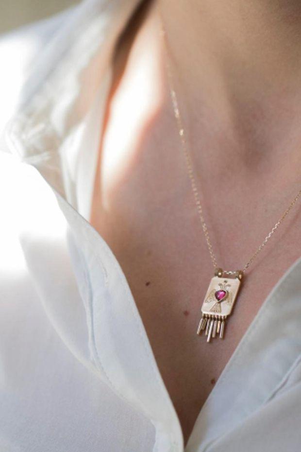 CELINE DAOUST Collier Plate Heart, Angel & Golden Fringes - Or Jaune