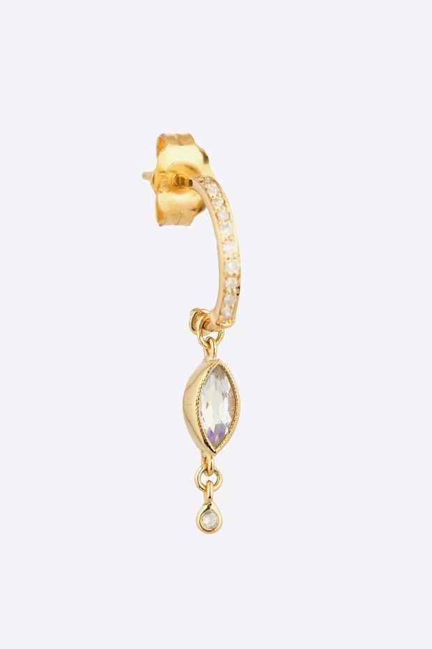 CELINE DAOUST Créole Diamonds & Marquise Rainbow Moonstone, Diamond - L' Unité