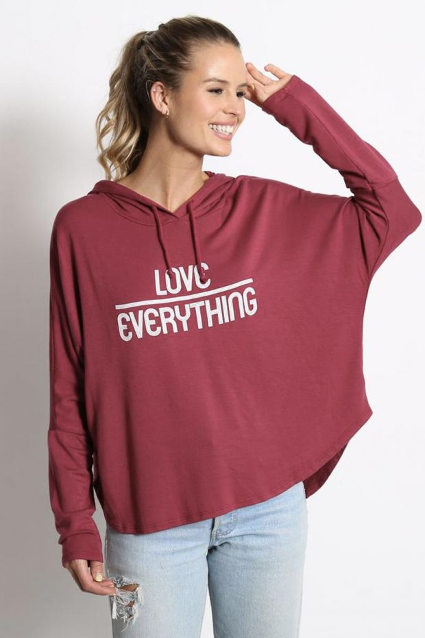 good hYOUman. Sweat Marley - Love Over Everything Retro - Cranberry