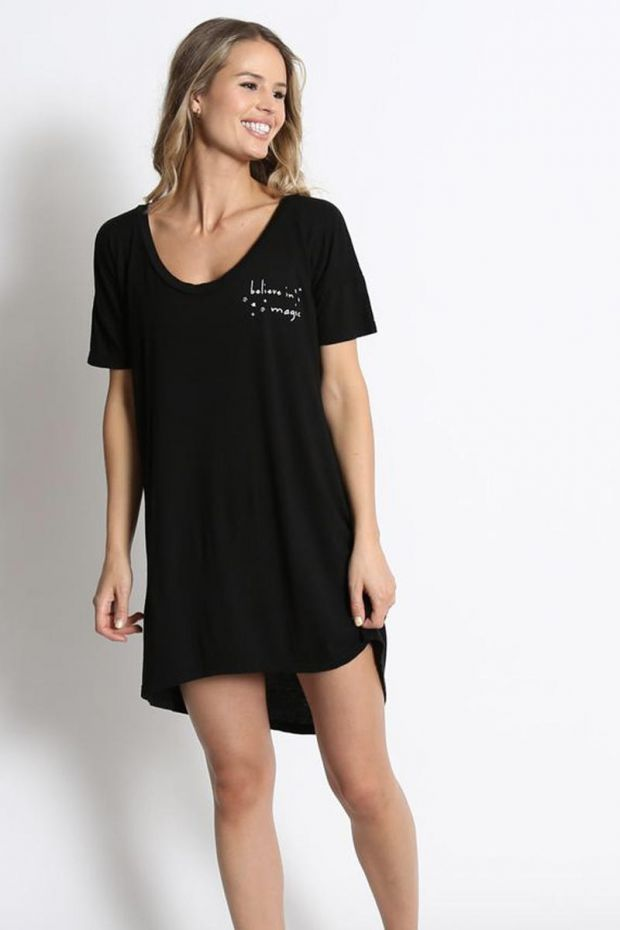 good hYOUman. Robe T-Shirt Margot - Believe in Magic - Black Sand