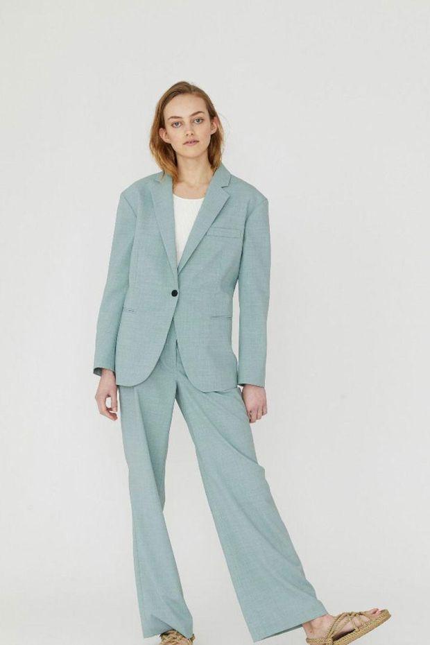 Designers Remix Pantalon MARLEY Flare - Light Dusty Green