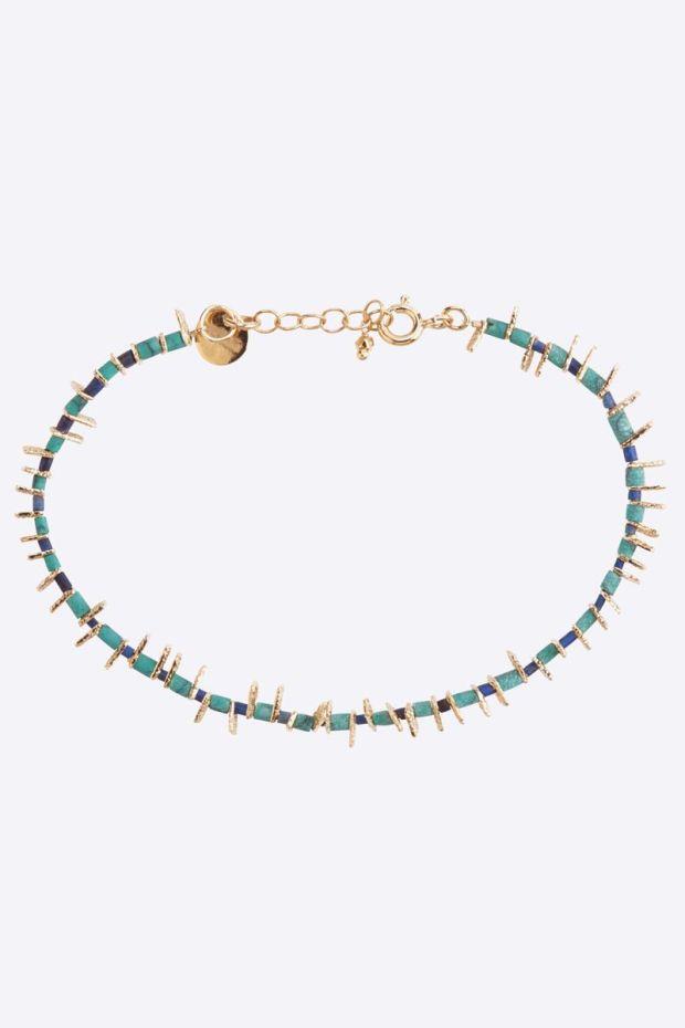 5 Octobre Bracelet BOY Blue - Argent doré or fin & Turquoise