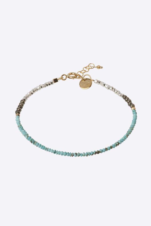 5 Octobre Bracelet SIGN Turquoise - Argent doré or fin
