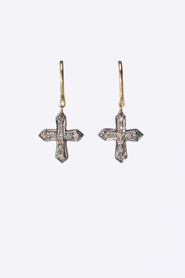 5 Octobre Boucles d'Oreilles CROSS Diamants - Argent doré or fin