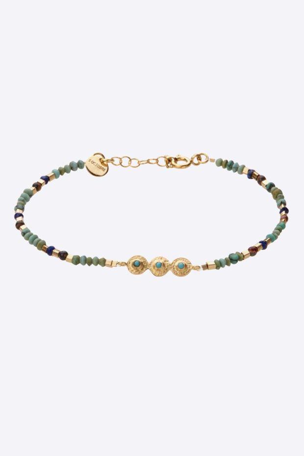 5 Octobre Bracelet MILLE N°2 Turquoise - Argent doré or fin