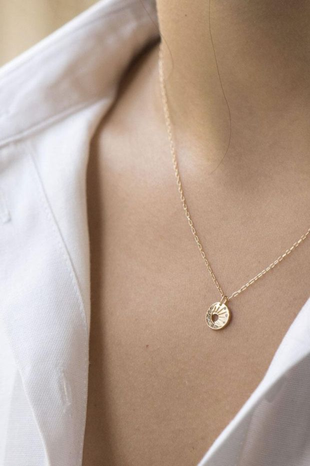 CELINE DAOUST Collier Baby Sun & Moon - Or jaune et Diamants