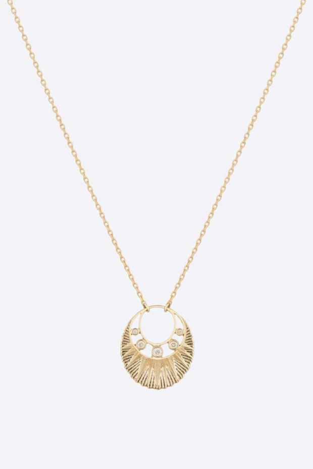 CELINE DAOUST Collier Sun Medal plate & Open Crescent Moon Diamonds - Or Jaune