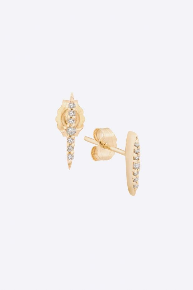 CELINE DAOUST Boucles d'Oreilles Set small beam Or jaune & 7 Diamants - La paire