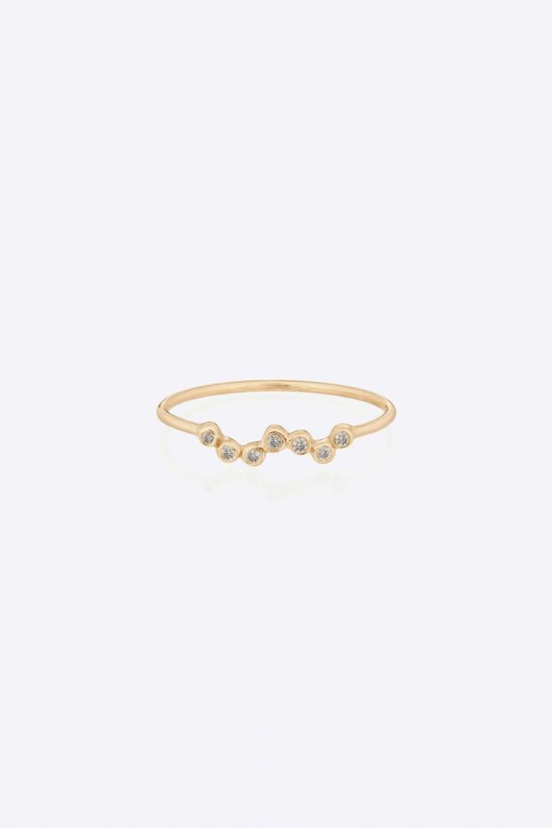 CELINE DAOUST Bague 7 Diamonds Twisting Tubes - Or Jaune