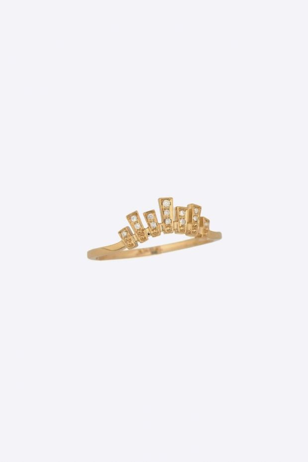 CELINE DAOUST Bague Crown 7 golden baguets & brilliant cut Diamonds - Or Jaune