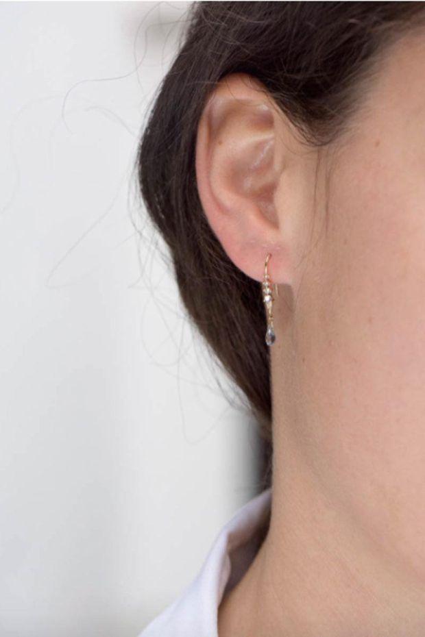CELINE DAOUST Boucle d'Oreille Saphirs bleu, Pierre de lune & Diamant - L' Unité