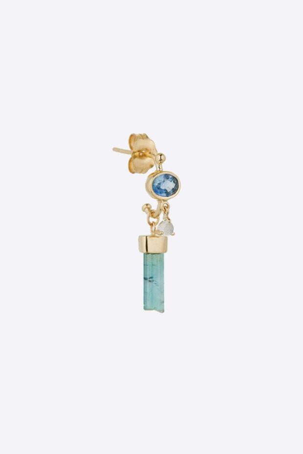 CELINE DAOUST Boucle d'Oreille Tourmaline Pencil, Sapphire Oval & Moonstone - L' Unité