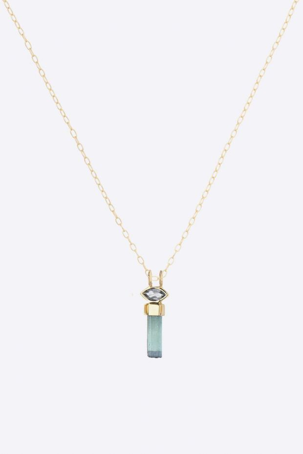 CELINE DAOUST Collier Rough Pencil Tourmaline & Marquise Chain 40 cm - Or Jaune