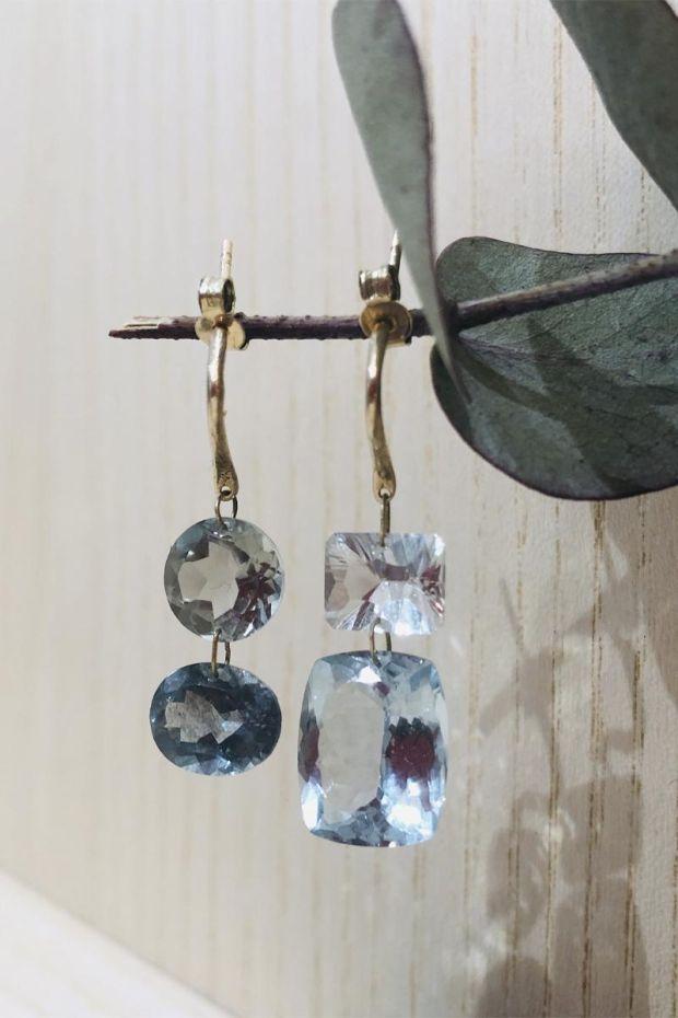5 Octobre Boucles D'Oreilles 80J N - Aquamarine & Amethyste verte