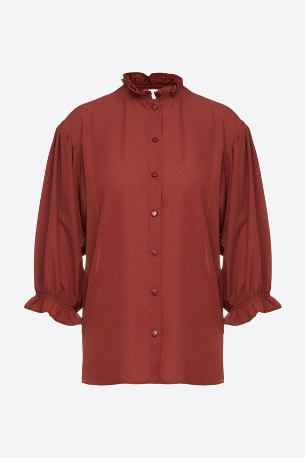 Designers Remix Byron Ruffle Shirt - Ox Blood
