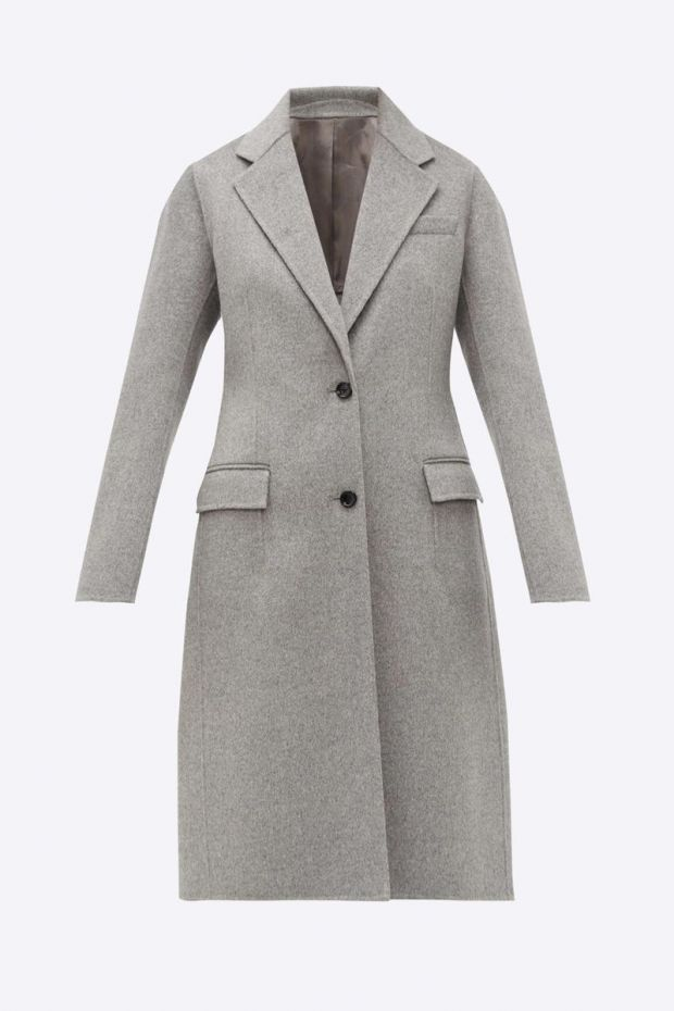Joseph Manteau Wool Coat MARLY - Grey Chiné