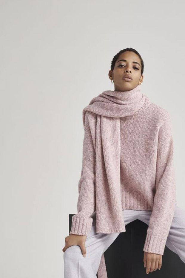 Joseph Pull Tweed Knit RD NK LS - Pink