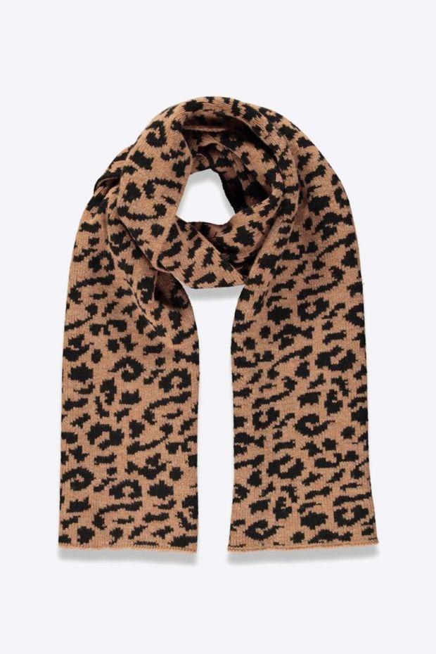 Essentiel Antwerp Topsize leopard jacquard Scarf - Combo Golden Brown