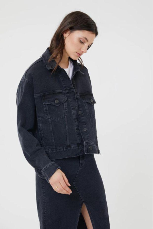3x1 Denim Oversized Classic Crop Jacket - Shred