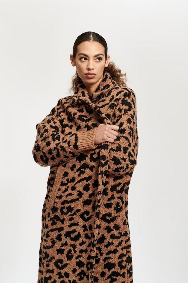 Essentiel Antwerp Tumblr Leopard Jacquard Coat - Combo Golden Brown