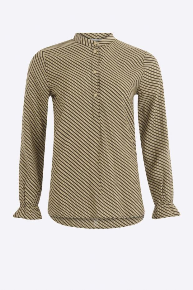 Coster Copenhagen Shirt w. stripes accross - Black and Beige
