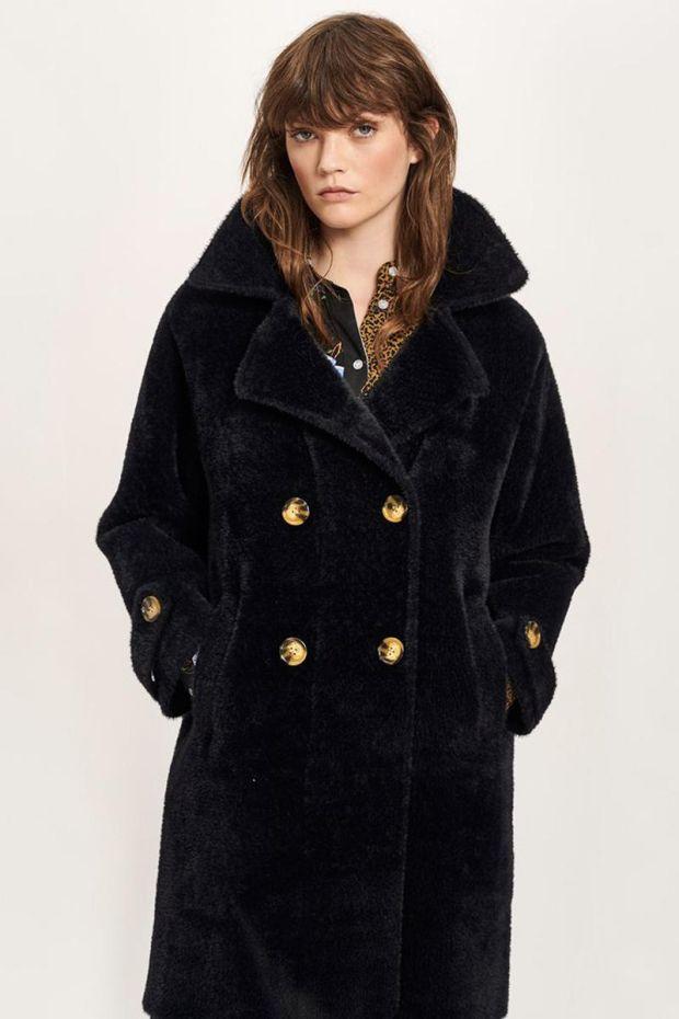 Essentiel Antwerp Tricky Soft Houndstooth Coat - Black