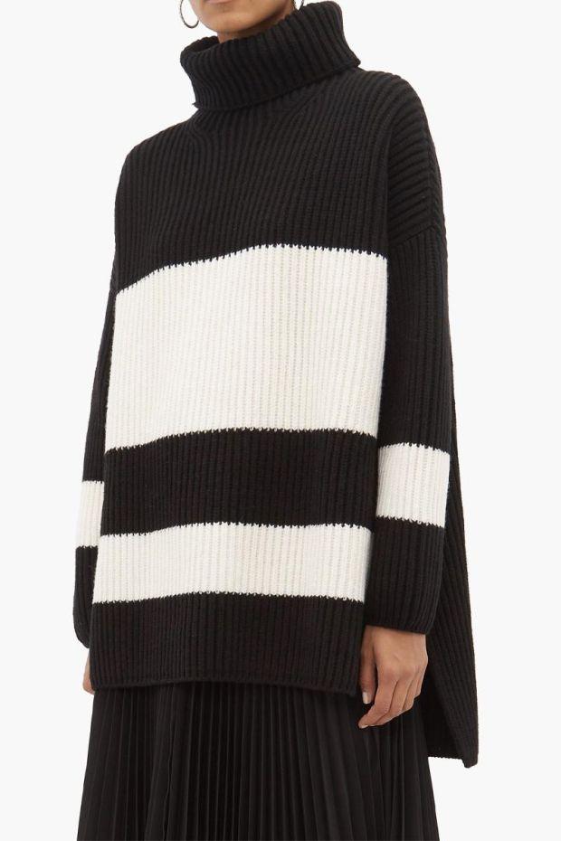 Joseph Pull Sweater Cote Anglaise - Black  Ecru