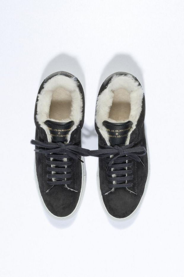 Zespa Sneakers ZSP4 HIGH Suede Shearling - Black