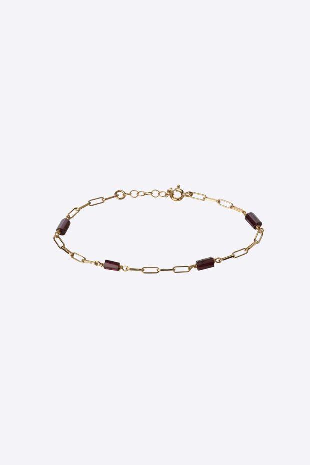 5 Octobre Bracelet ALISHA - Argent doré Or fin & Grenat