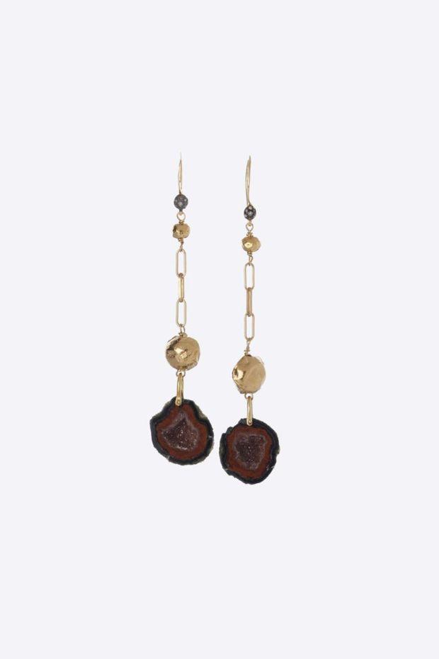 5 Octobre Boucles d'Oreilles REED - Argent doré Or fin, Géode & Diamants