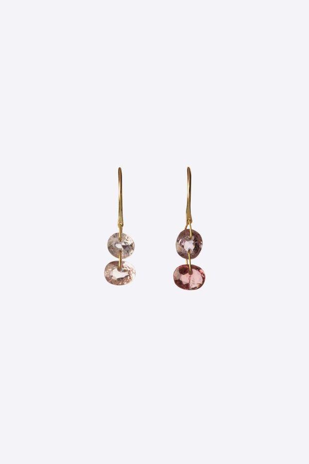 5 Octobre Boucles D'Oreilles DOUBLE - Spinelle Rose