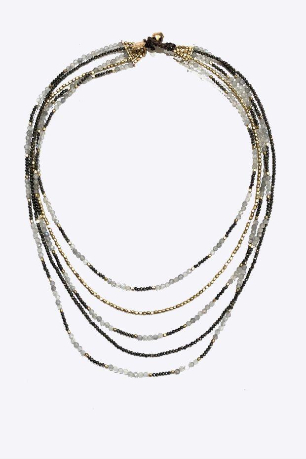 Bohemian Rhapsodie Collier PIA Plastron Labradorite, Pyrite & Bronze