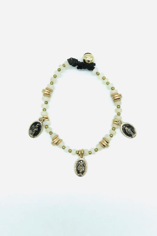 Bohemian Rhapsodie Bracelet MADDALENA - Opale blanche & Madones