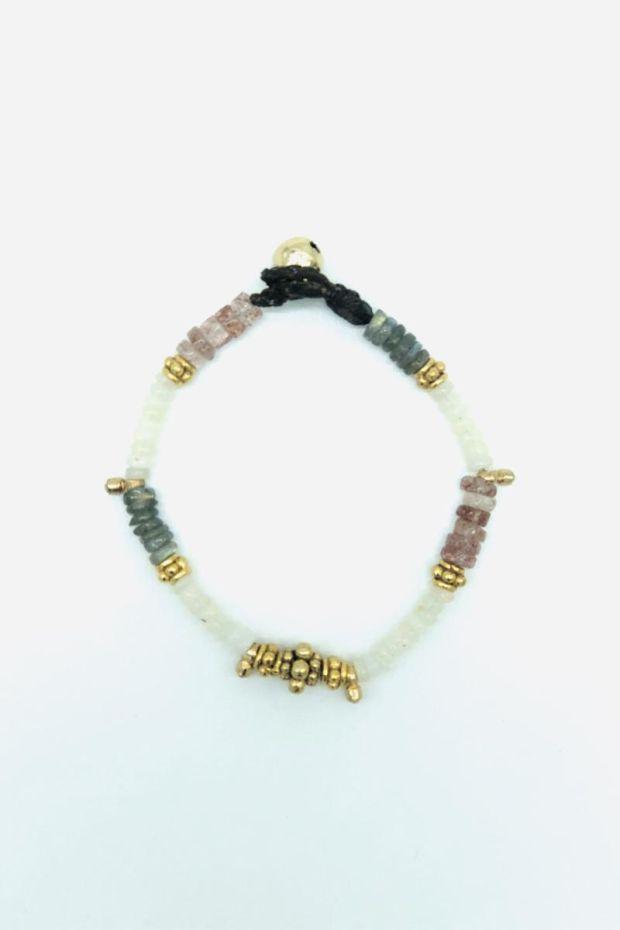 Bohemian Rhapsodie Bracelet STONE - Opale blanche, Strawberry Quartz & Labradorite