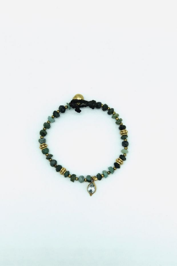 Bohemian Rhapsodie Bracelet ESTER - Emeraude & Bindi Topaze