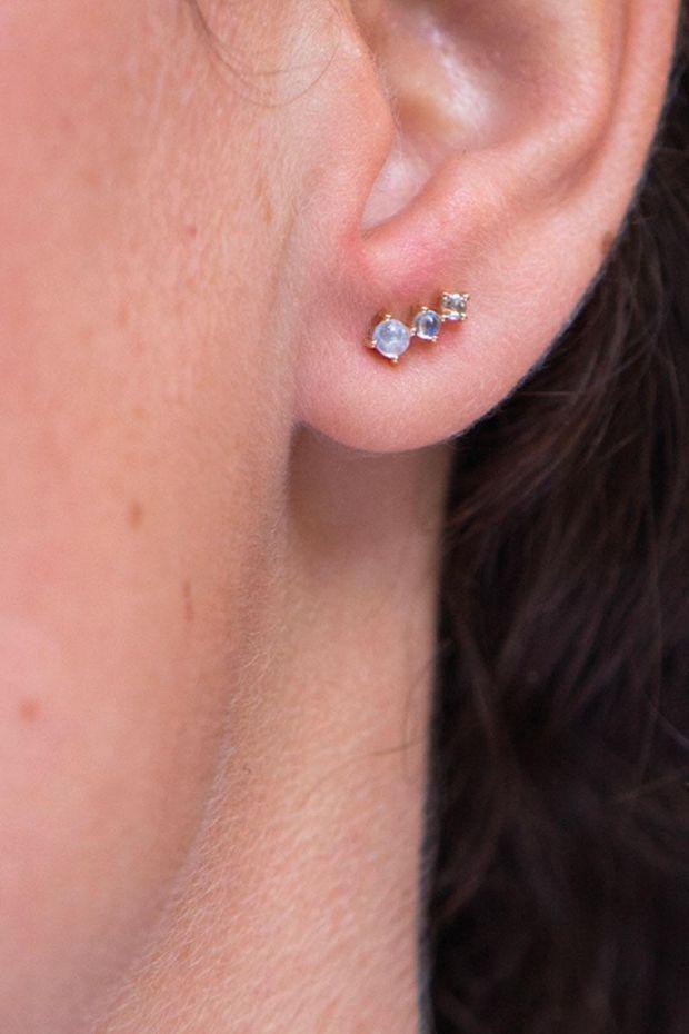 CELINE DAOUST Boucles d'Oreilles Double Pierres de Lune & Diamants - La Paire