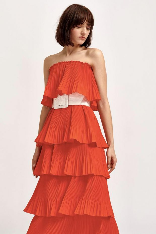 Essentiel Antwerp Robe VALENTINA - Ruffled Dress - Berry Red