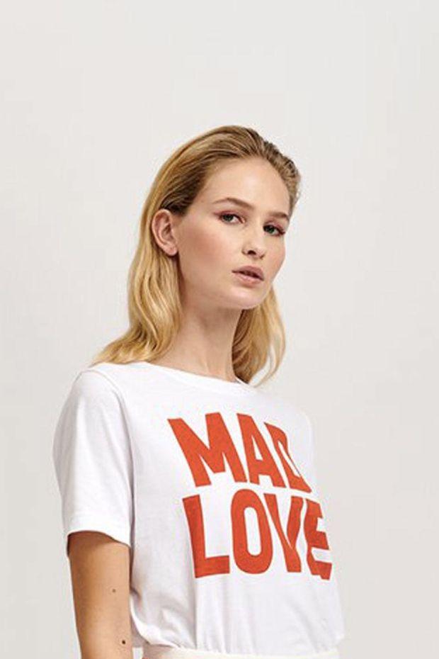 Essentiel Antwerp T-Shirt VLOGAN Message Printed - White