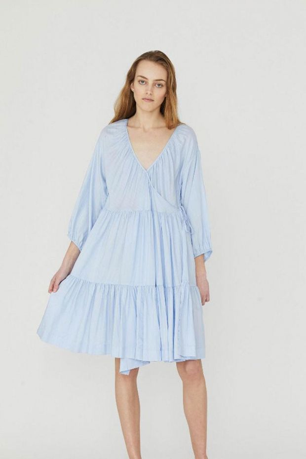 Designers Remix Mana Wrap Dress - Light BlueCream