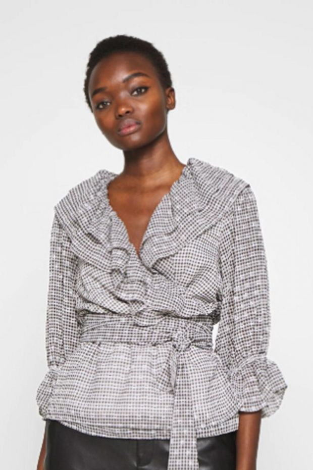 Designers Remix Kiely Wrap Blouse - Print BlackWhite Check