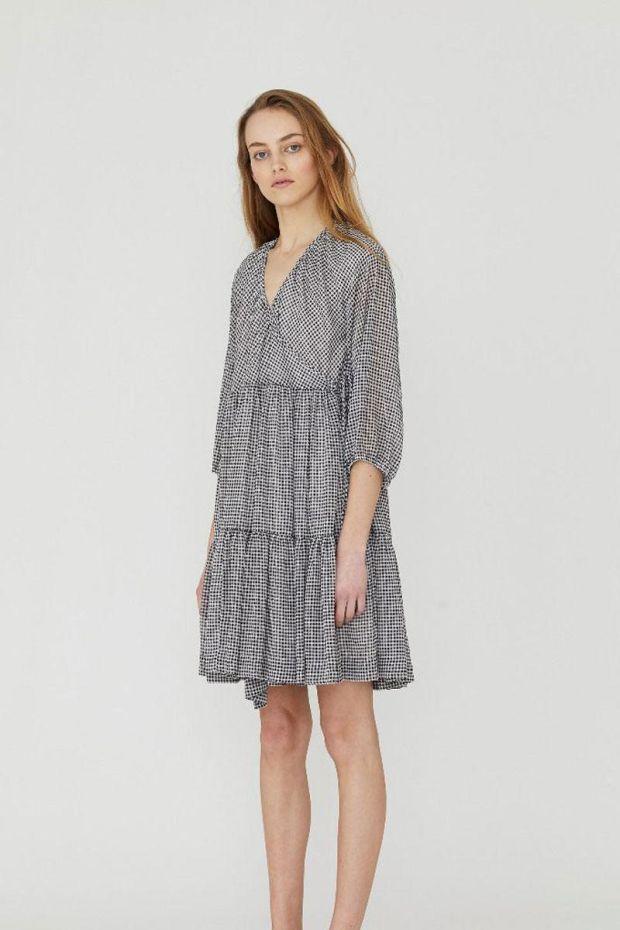 Designers Remix Kiely Wrap Dress - Print BlackWhite Check