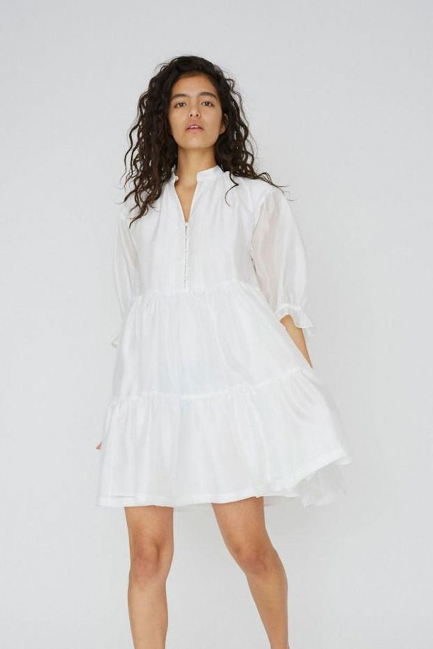 Designers Remix Enola Ruffle Dress - White