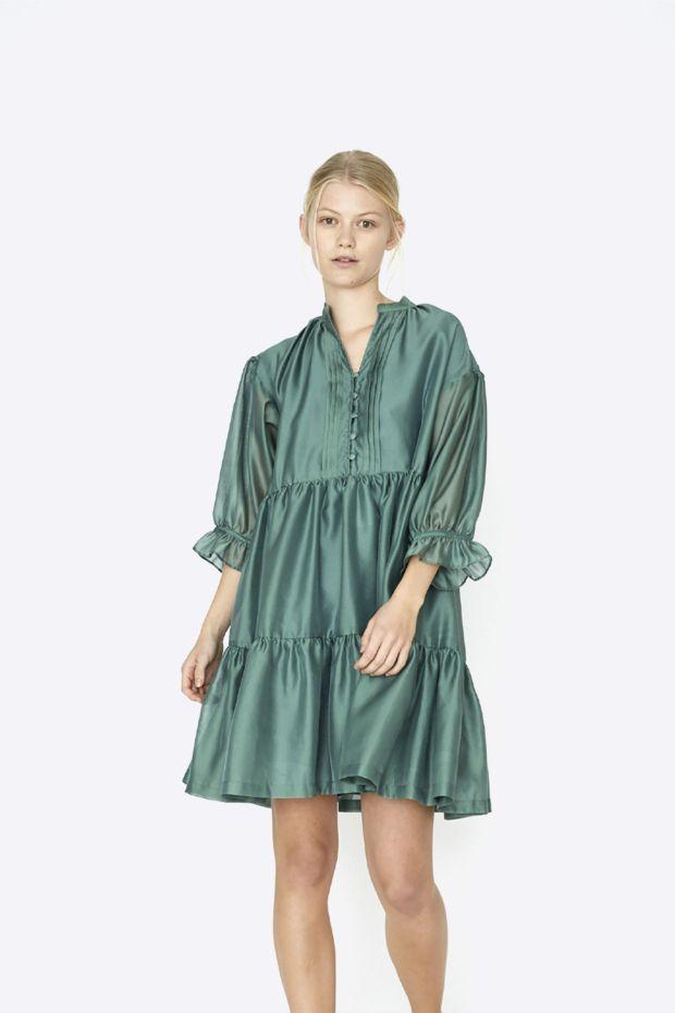 Designers Remix Enola Ruffle Dress - Dusty Green