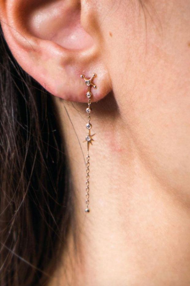 CELINE DAOUST Boucle d'Oreille Longue Chaine Constellation Diamants - L' Unité