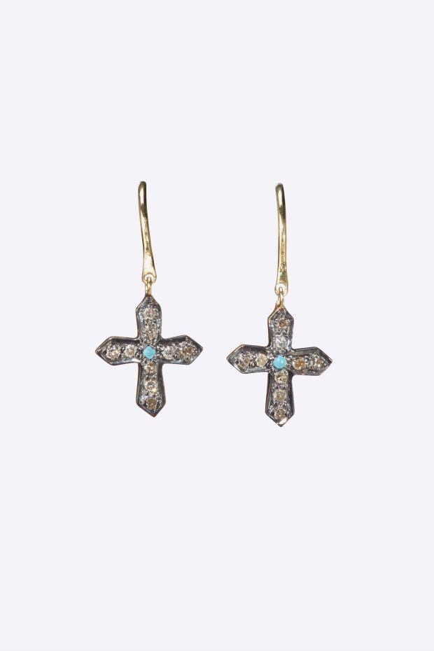 5 Octobre Boucles d'Oreilles CROSS Diamants & Turquoise - Argent doré or fin